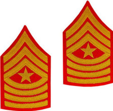 Marine Corps Chevron: Sergeant Major - gold embroidered on red