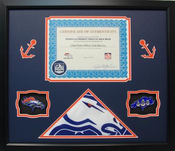 Broncos Flag Navy Coins Shadow Box Display