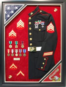 USMC Half Jacket with Double Flags Shadow Box Display