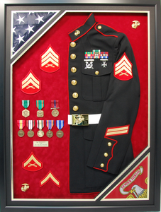 USMC Half Jacket with Double Flags Shadow Box Display