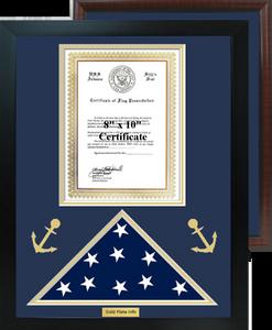 "16"" x 20"" Nautical Certificate w/ Flag Shadow Box"