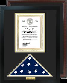 "16"" x 20"" Certificate w/ Flag Shadow Box"