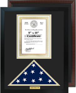 "16"" x 20"" Certificate w/ Flag Shadow Box"