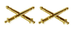 Army Officer Branch of Service Collar Device: Artillery - 22k gold plated