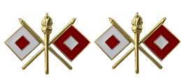 Army Officer Branch of Service Collar Device: Signal - 22k gold plated