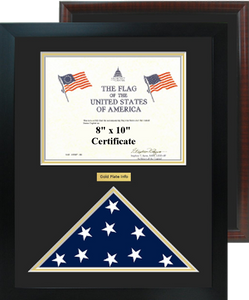 "16"" x 20"" Horizontal Certificate w/ Flag Shadow Box"