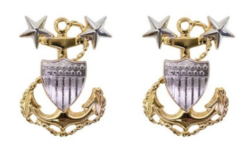 Coast Guard Metal Collar Device: E9 Chief Petty Officer: Master- per pair