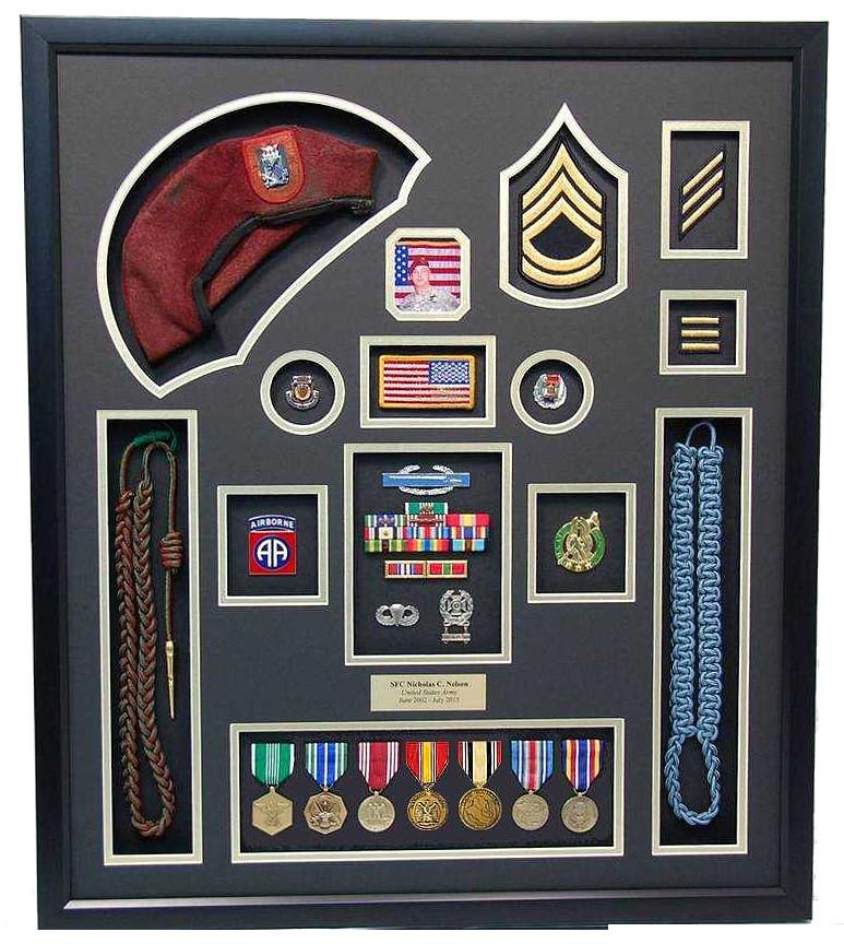 U S Army Shadow Box Display W Beret Military Memories