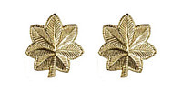 Army Officer Rank Insignia: Major - 22k Gold Plated- pair