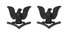 Navy Collar Device: E4 Seabee - black metal- pair