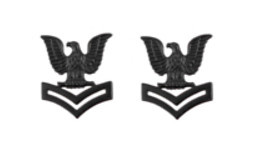 Navy Collar Device: E5 Seabee - black metal- pair