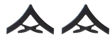 Marine Corps Chevron: Lance Corporal - black metal, solid brass- pair
