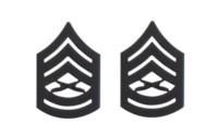 Marine Corps Chevron: Gunnery Sergeant - black metal, solid brass- pair