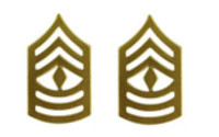 Marine Corps Chevron: First Sergeant - satin gold- pair