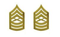 Marine Corps Chevron: Master Sergeant - satin gold- pair