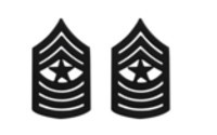 Marine Corps Chevron: Sergeant Major - black metal, solid brass- pair