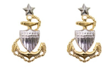 Coast Guard Metal Collar Device: E8 Chief Petty Officer: Senior- pair