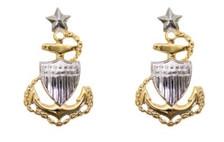 Coast Guard Metal Collar Device: E8 Chief Petty Officer: Senior- pair