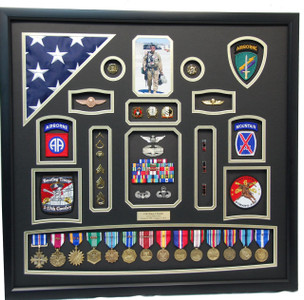 U.S. Airborne Display with Flag Shadow Box
