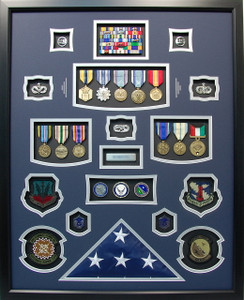 US Air Force Shadow Box Display with Flag