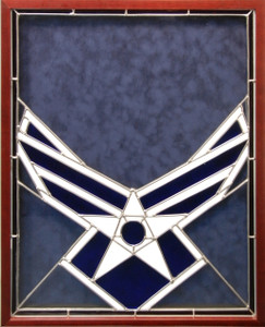USAF Stained Glass Logo Shadow Box Display