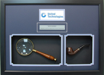 Magnifying Glass and Pipe Shadow Box Frame