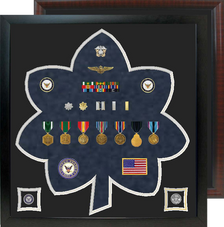 "23"" x 24"" Lt. Col - CDR  Rank Shaped Shadow Box"