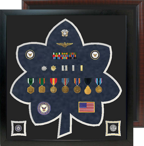 "23"" x 24"" Lt. Col - CDR  Rank Shaped Shadow Box"