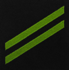 Navy E2 Rating Badge: Airman Apprentice - green chevrons on blue serge