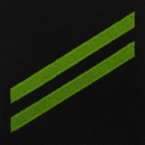 Navy E2 Rating Badge: Airman Apprentice - green chevrons on blue serge