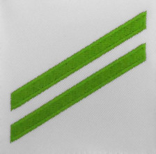 Navy E2 Rating Badge: Airman Apprentice - green chevrons on white CNT