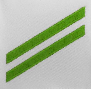 Navy E2 Rating Badge: Airman Apprentice - green chevrons on white CNT