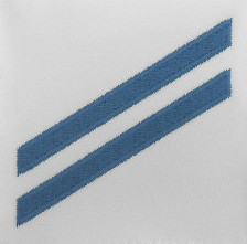 Navy E2 Rating Badge: Construction Apprentice - blue chevrons on white CNT