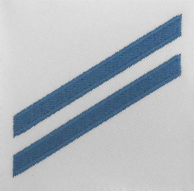 Navy E2 Rating Badge: Construction Apprentice - blue chevrons on white CNT