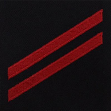 Navy E2 Rating Badge: Fireman Apprentice - red chevrons on blue serge