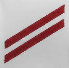 Navy E2 Rating Badge: Fireman Apprentice - red chevrons on white CNT