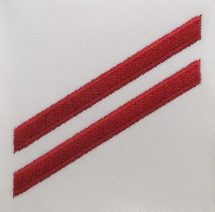 Navy E2 Rating Badge: Fireman Apprentice - red chevrons on white poplin