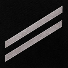 Navy E2 Rating Badge: Seaman Apprentice - white chevrons on blue serge