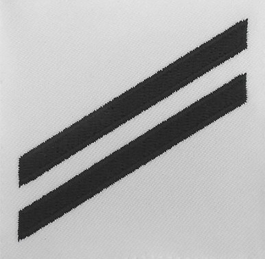 Navy E2 Rating Badge: Seaman Apprentice - blue chevrons on white poplin