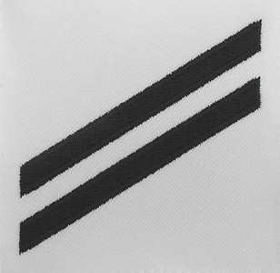 Navy E2 Rating Badge: Seaman Apprentice - blue chevrons on white poplin
