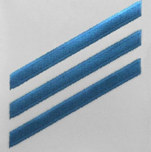 Navy E3 Rating Badge: Constructionman - blue chevrons on white poplin