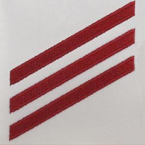 Navy E3 Rating Badge: Fireman - red chevrons on white CNT