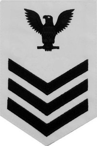 Navy E6 Rating Badge - white surge