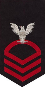Navy E7 Rating Badge - seaworthy red on blue