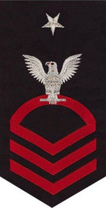Navy E8 Rating Badge - seaworthy red on blue