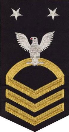 Navy E9 Rating Badge - seaworthy gold on blue