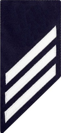 Coast Guard E3 Rating Badge: white chevrons on blue