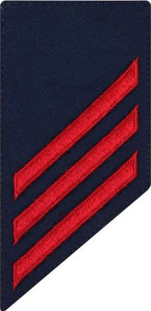 Coast Guard E3 Rating Badge: red chevrons on blue