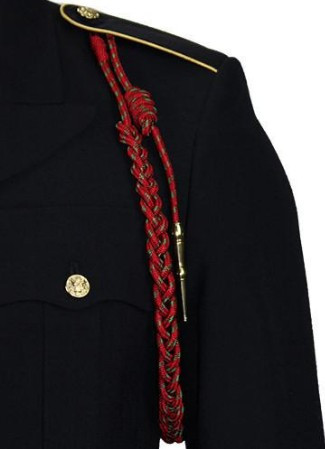 Army Fourragere (Lanyard)- Belgian WWII - red and green polish brass tip