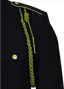 Army Fourragere (Lanyard)- French WWII - green and gold with polish brass tip